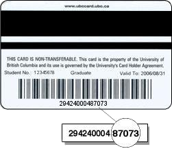 Back of Library Card, showing Bar Code